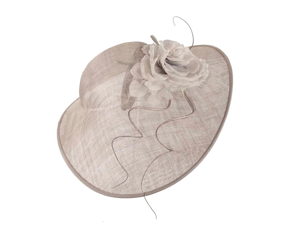 One off large silver racing hat by Cupids Millinery