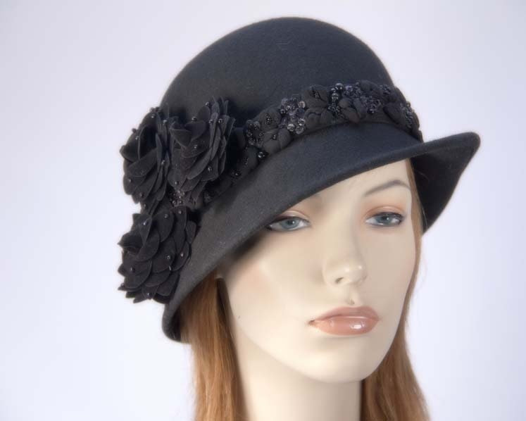 Black ladies winter felt cloche hat buy online in Australia F573B