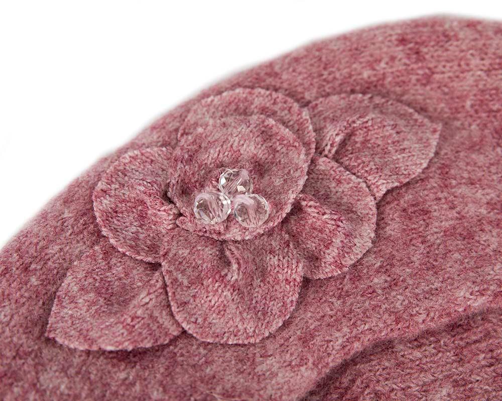 European made woven dusty pink beret