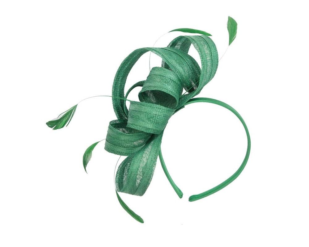 Green loops racing fascinator by Max Alexander