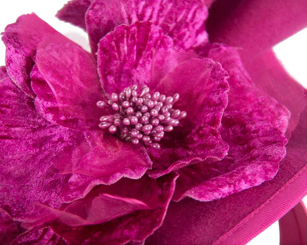 Large fuchsia felt flower fascinator