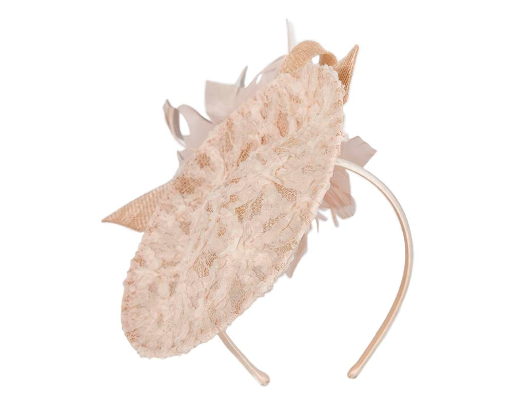 Blush plate fascinator with flower by Cupids Millinery