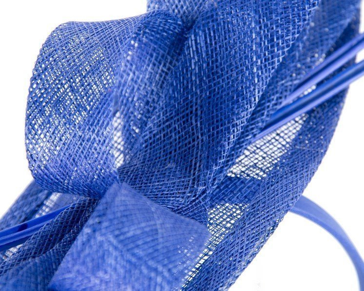 Royal blue fascinator with long feather