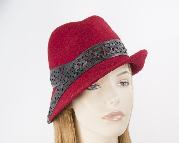 Red felt trilby hat with black leather by Max Alexander