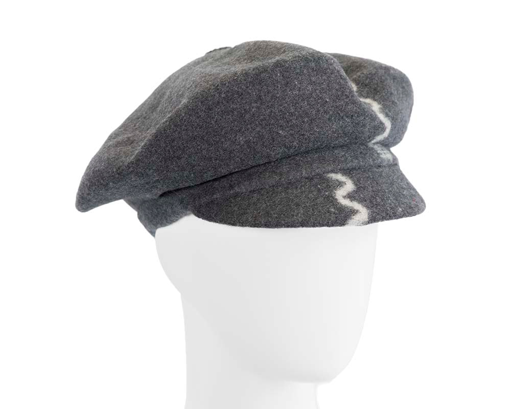 Grey winter newsboy cap by Max Alexander