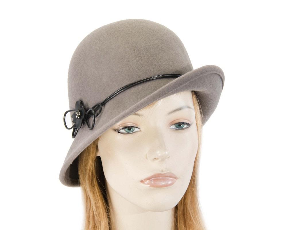 Grey felt cloche hat