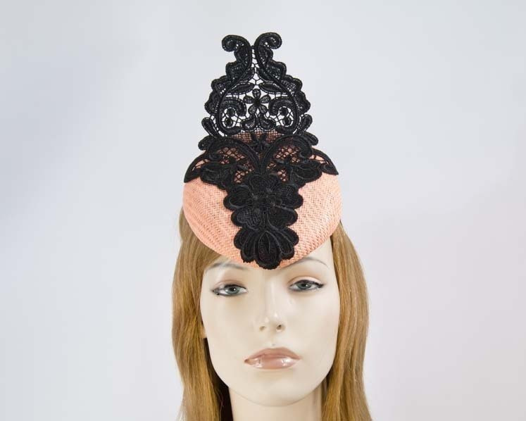 Coral pillbox fascinator hat with lace for Melbourne Cup races