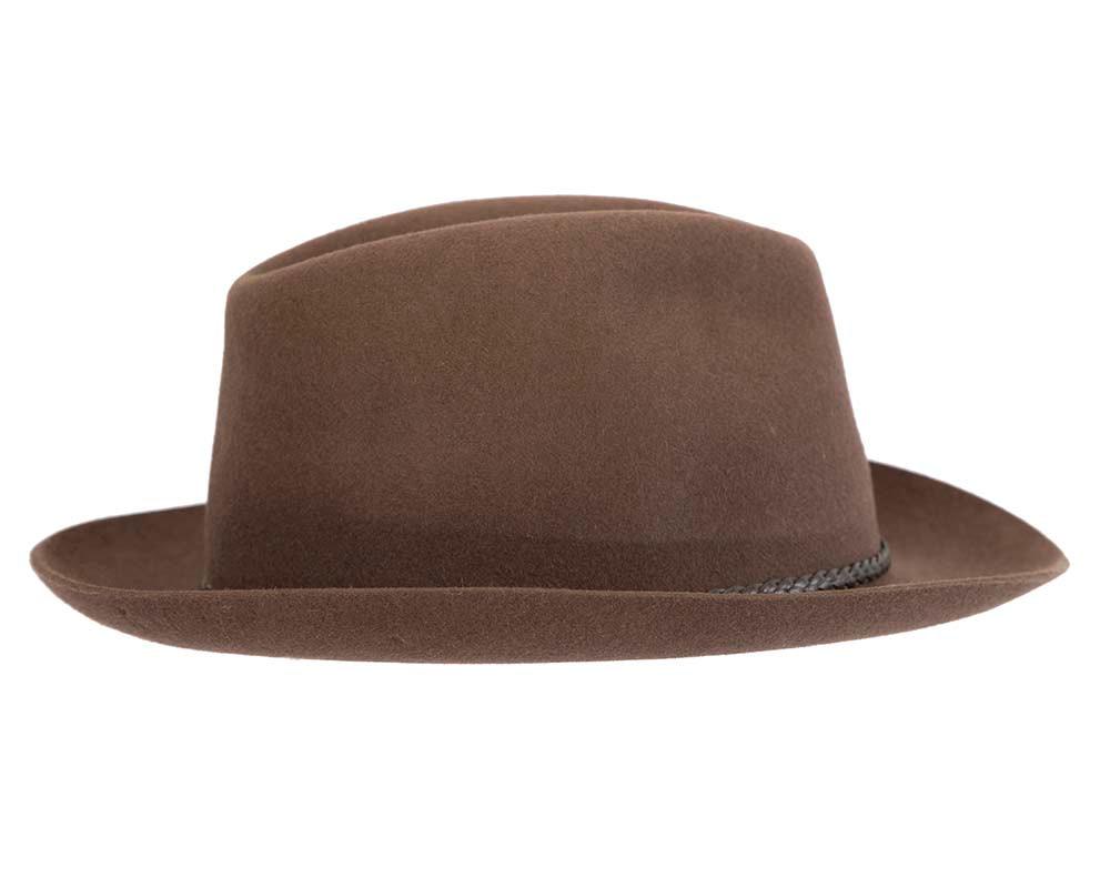 Brown unisex rabbit fur fedora hat, leather trim & buckle