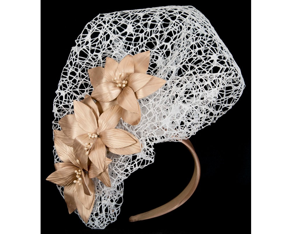 Staggering white & gold racing fascinator by Fillies Collection