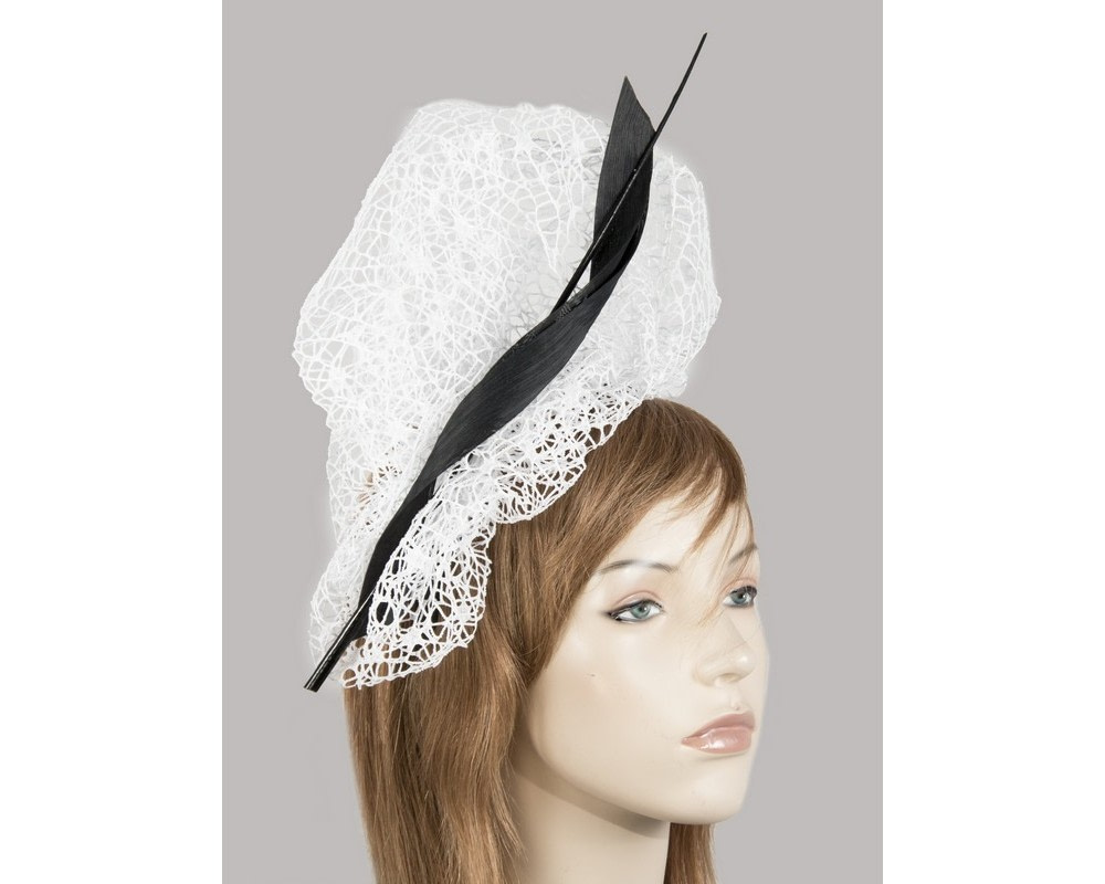 Bespoke white & black lace fascinator