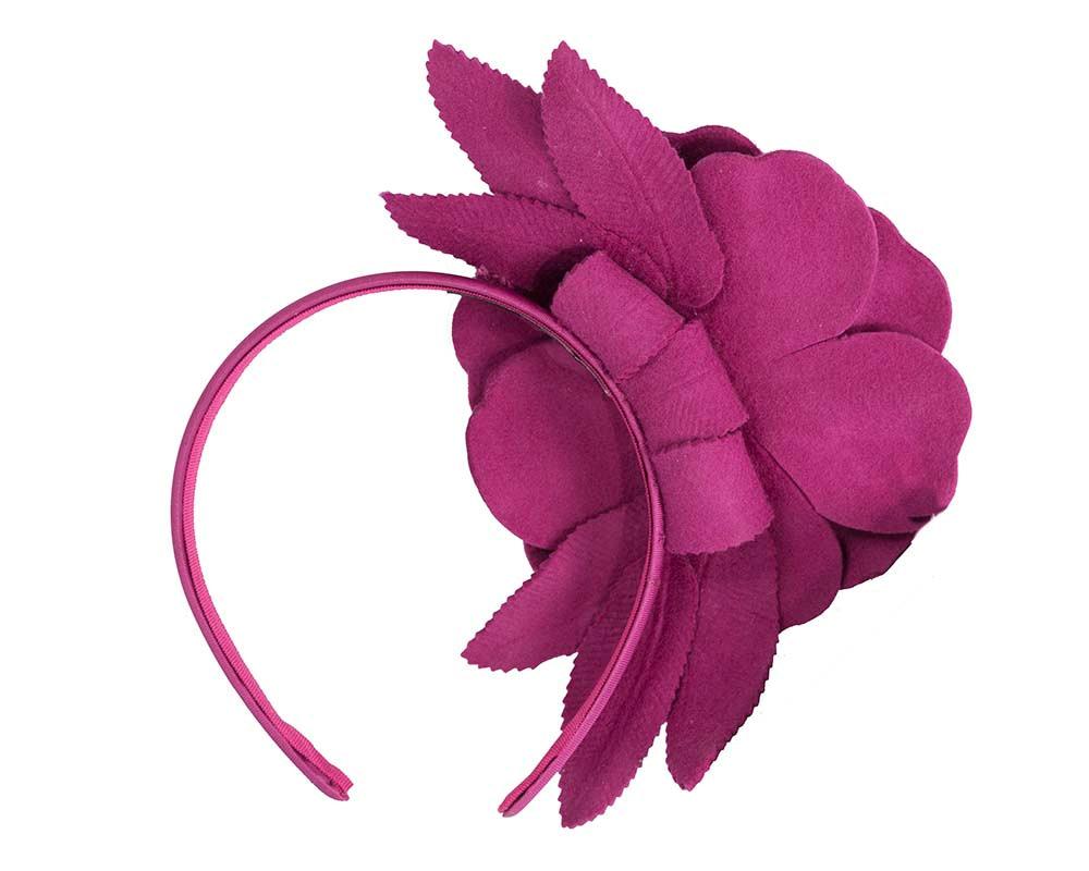Fuchsia felt flower fascinator by Max Alexander