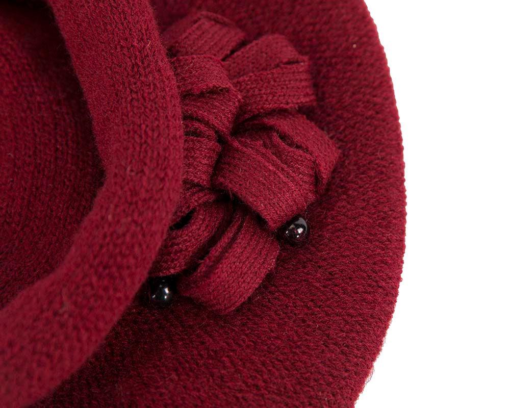 Woolen woven burgundy beret by Max Alexander