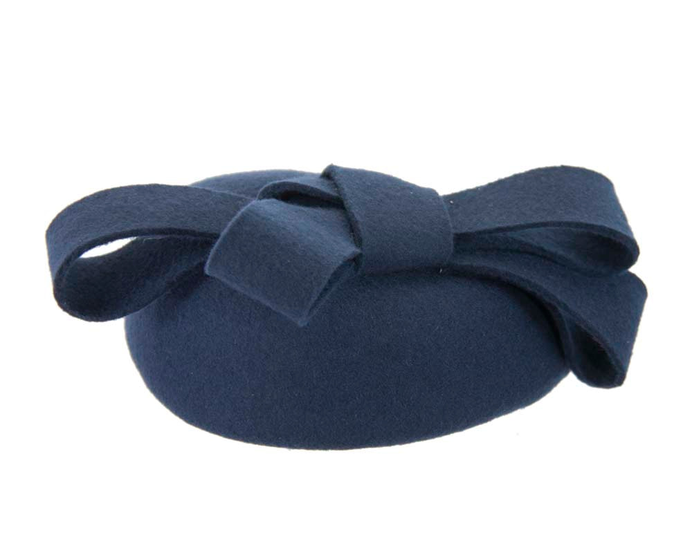 Navy felt winter racing pillbox fascinator