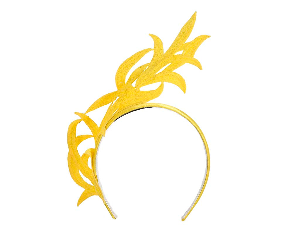 Yellow lace crown fascinator headband by Max Alexander
