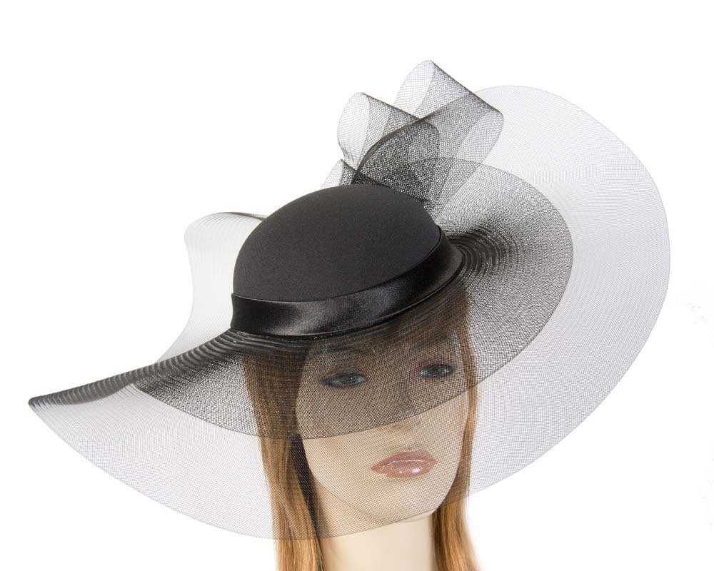 Black large brim custom made ladies hat