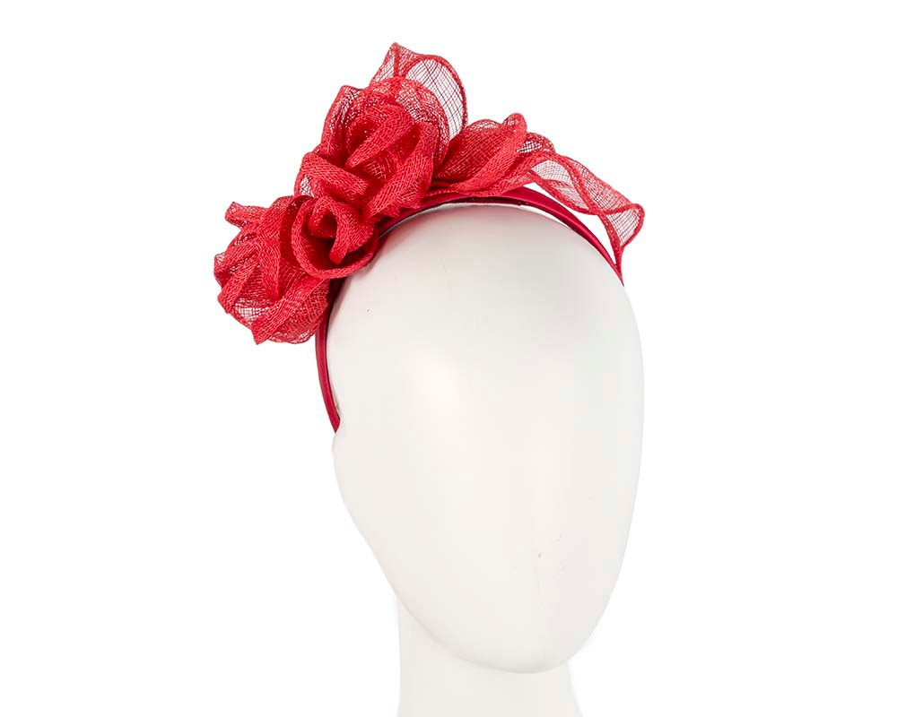 Red sinamay flower crown
