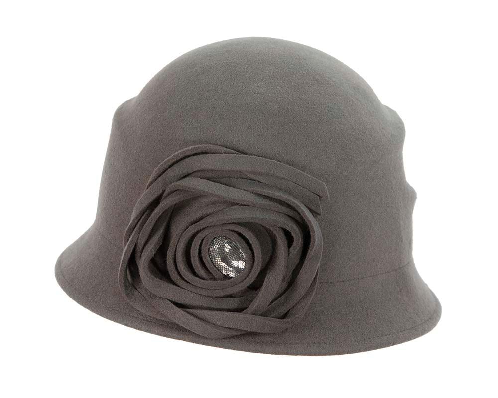 Grey winter fashion bucket hat by Cupids Millinery
