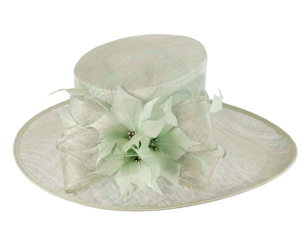 Large Mint Green Ladies Fashion Racing Hat by Cupids Millinery