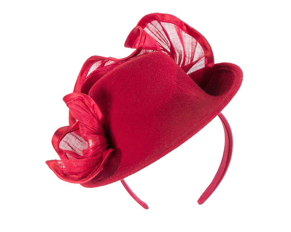 Red winter fashion fascinator hat for races buy online in Australia F555R