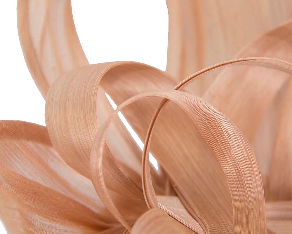 Large nude silk abaca heart fascinator
