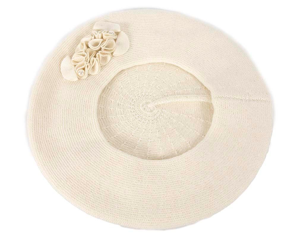 Warm woven cream beret by Max Alexander