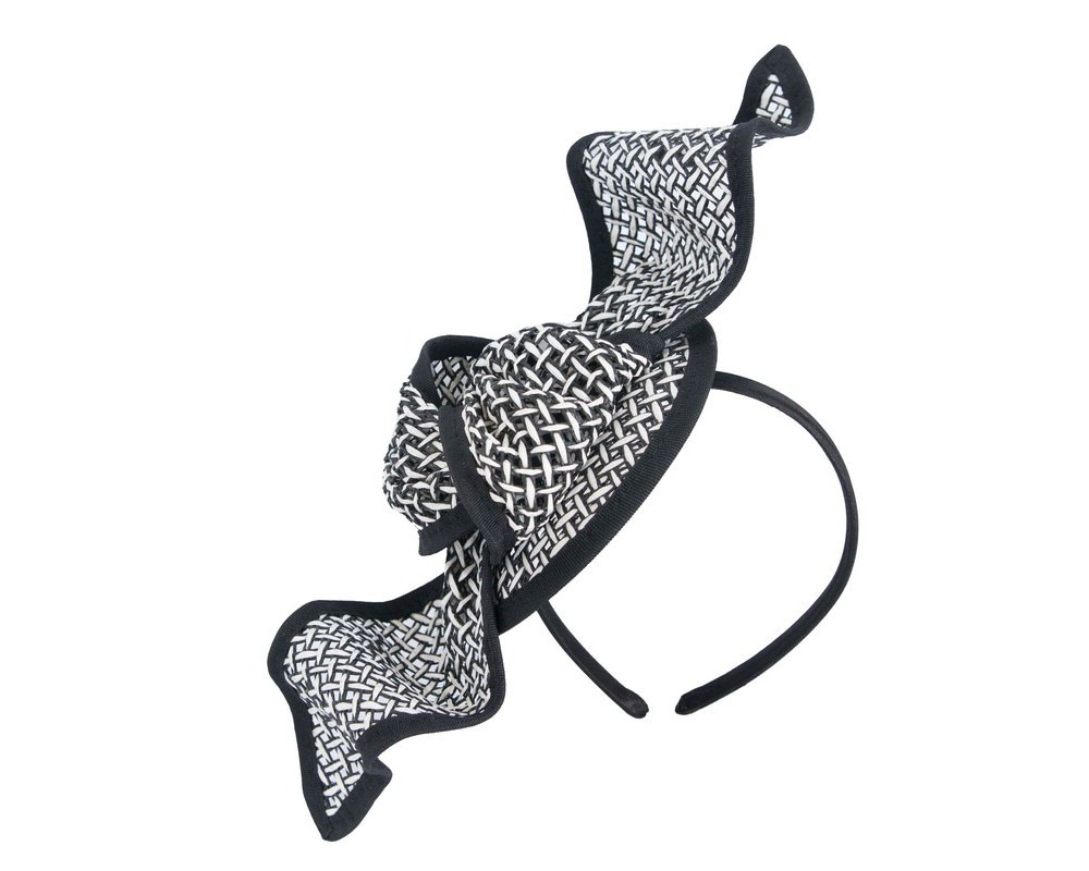 White & Black bow fascinator by Max Alexander