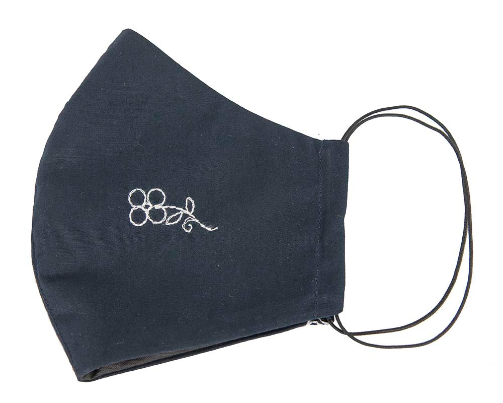 Comfortable re-usable navy face mask with embroidery