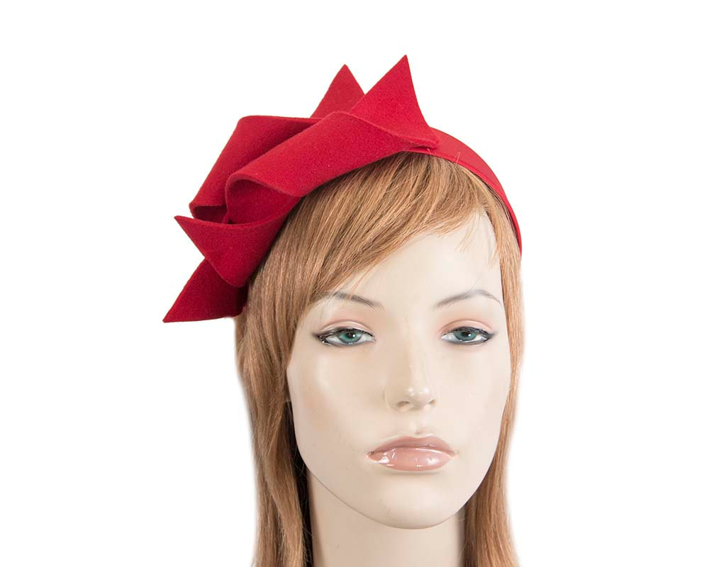 Red felt twisted fascinator headband by Max Alexander