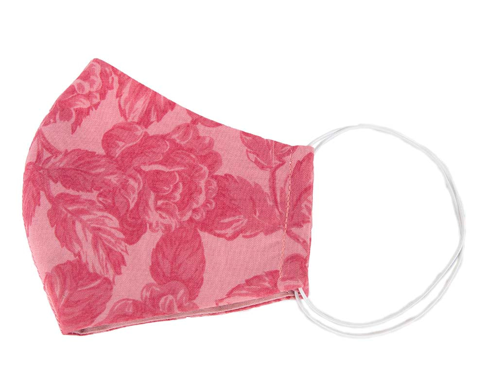 Comfortable re-usable cotton face mask pink flower