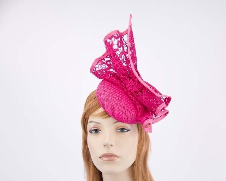 Fuchsia pillbox with lace for Melbourne Cup races by Fillies Collection S166F