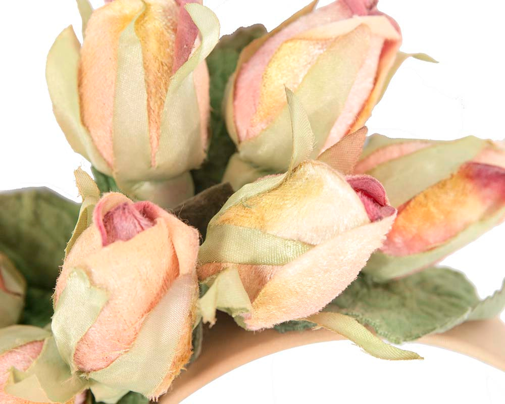 Peach rose flower headband fascinator by Max Alexander