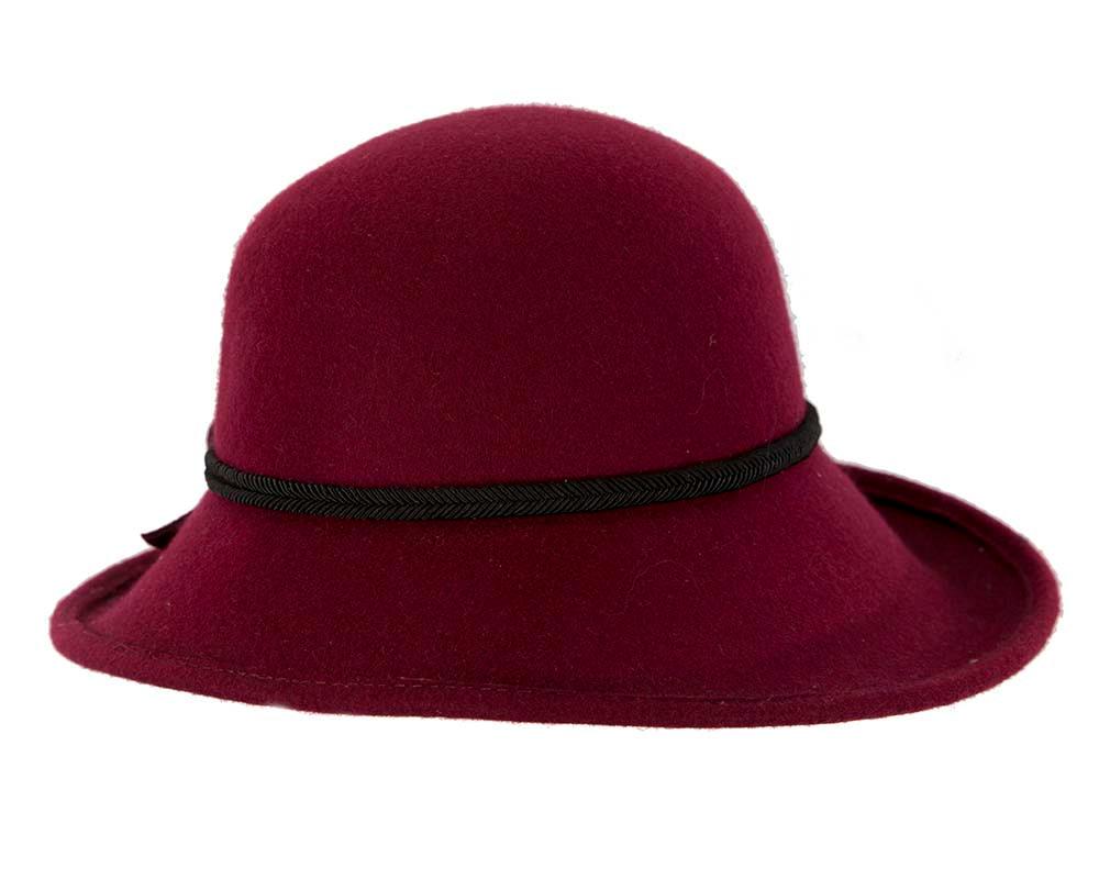 Large burgundy wine felt designers winter hat