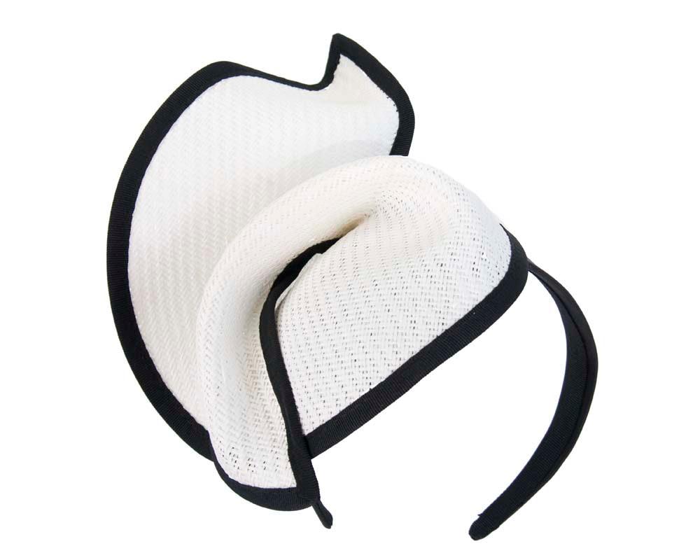 White black fashion pillbox fascinator hat for races Max Alexander MA564WB