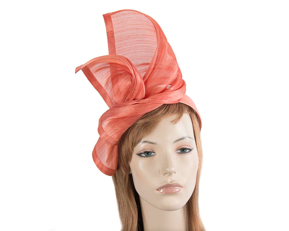 Bespoke coral silk abaca racing fascinator by Fillies Collection