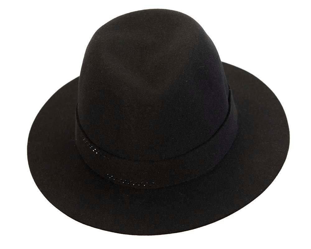 Black rabbit fur wide brim ladies fedora hat