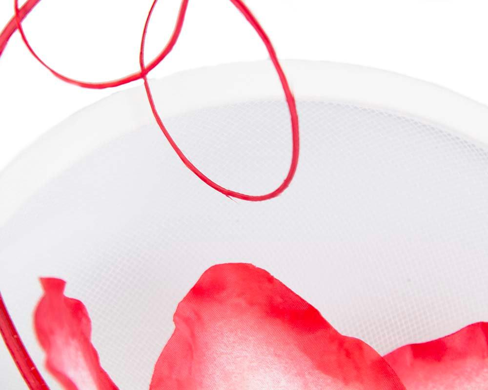 Large white & red flower heart fascinator