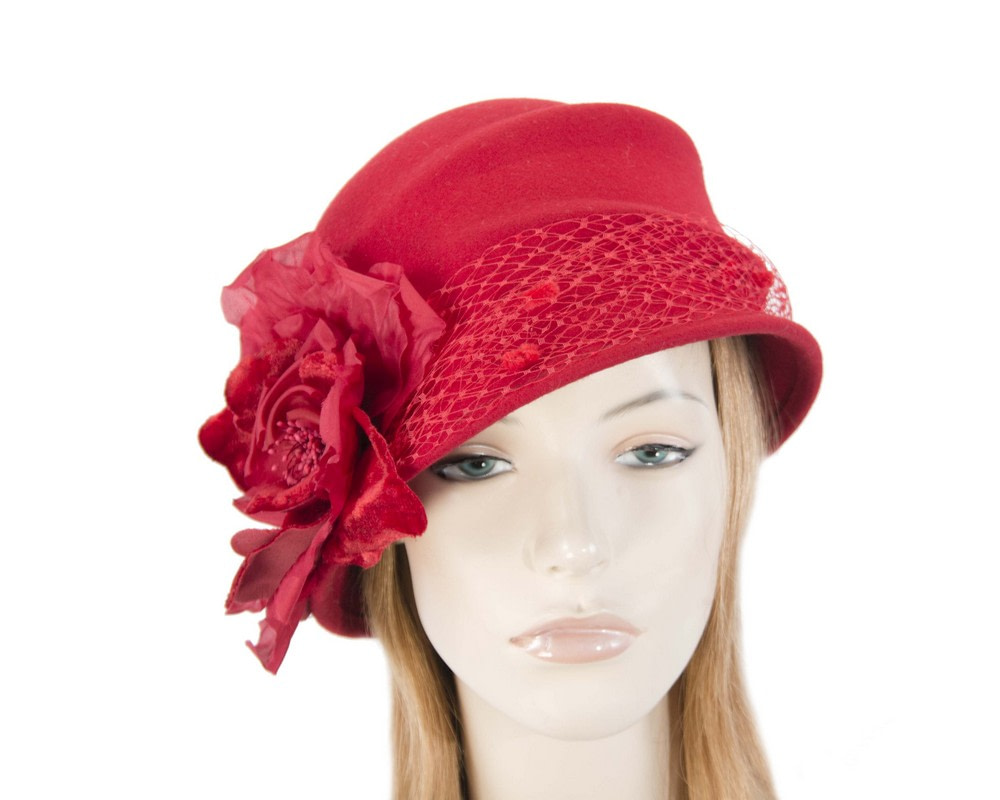 Red cloche bucket felt hat