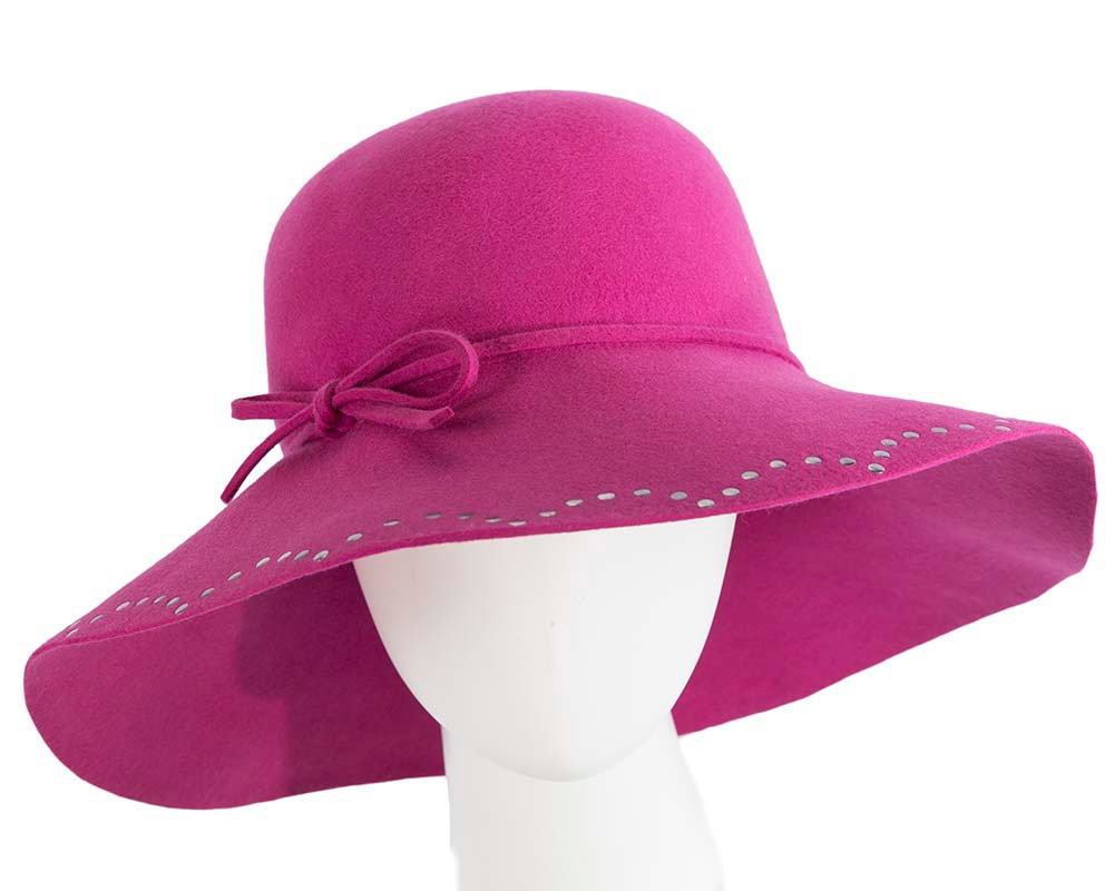 Wide brim fuchsia cloche hat by Cupids Millinery