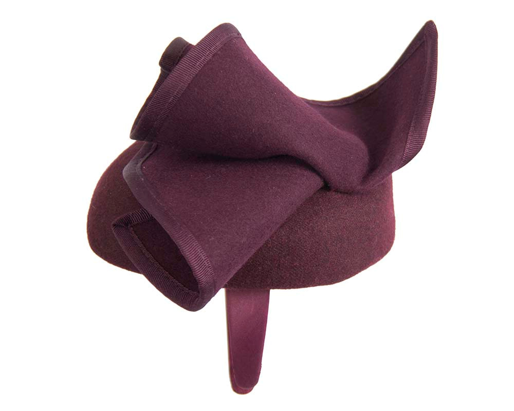 Wine felt winter racing pillbox fascinator by Fillies Collection