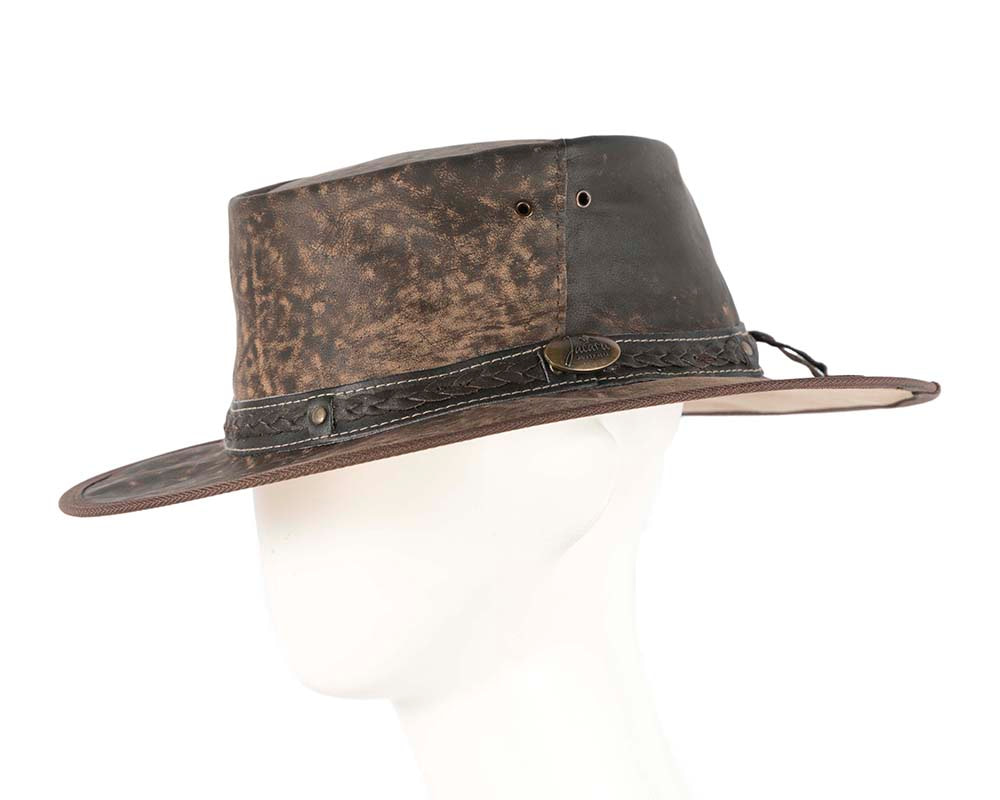 Brown Australian Kangaroo Leather Crushable Outback Jacaru Hat