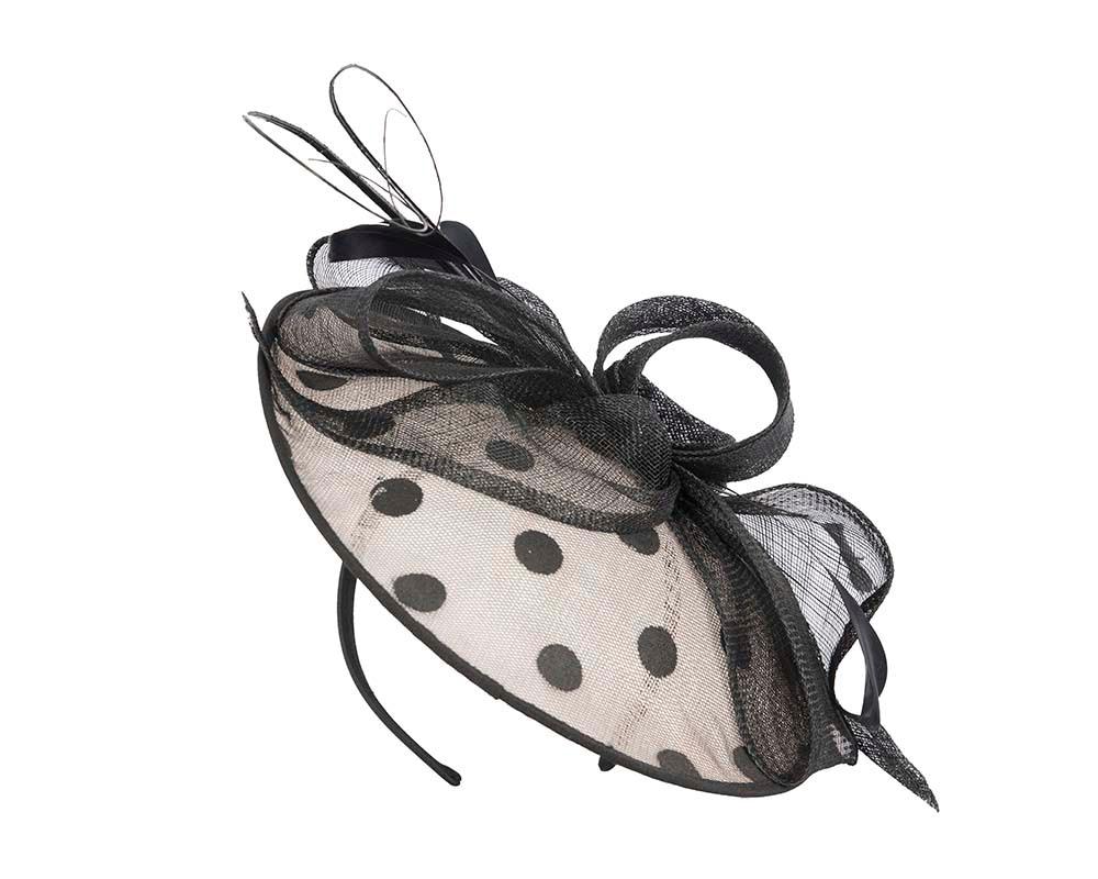 Cream & black polka dot racing fascinator