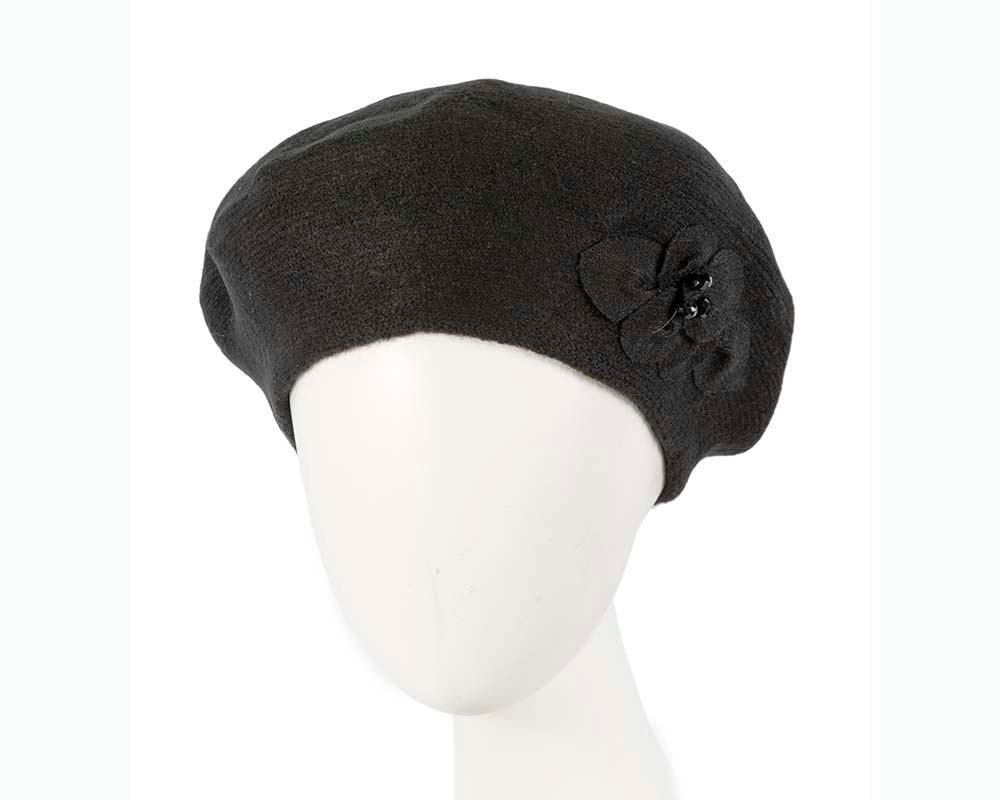 European made woven black beret