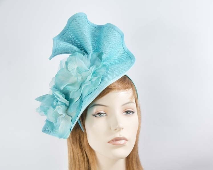 Turquoise Melbourne Cup races fascinator by Fillies Collection