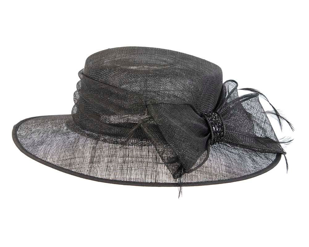 Black racing hat with bow by Cupids Millinery