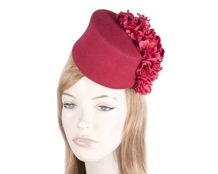 Tall red felt fascinator with flowers