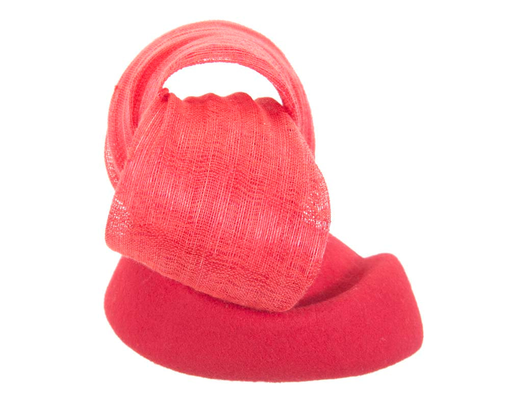 Red pillbox with silk abaca bow