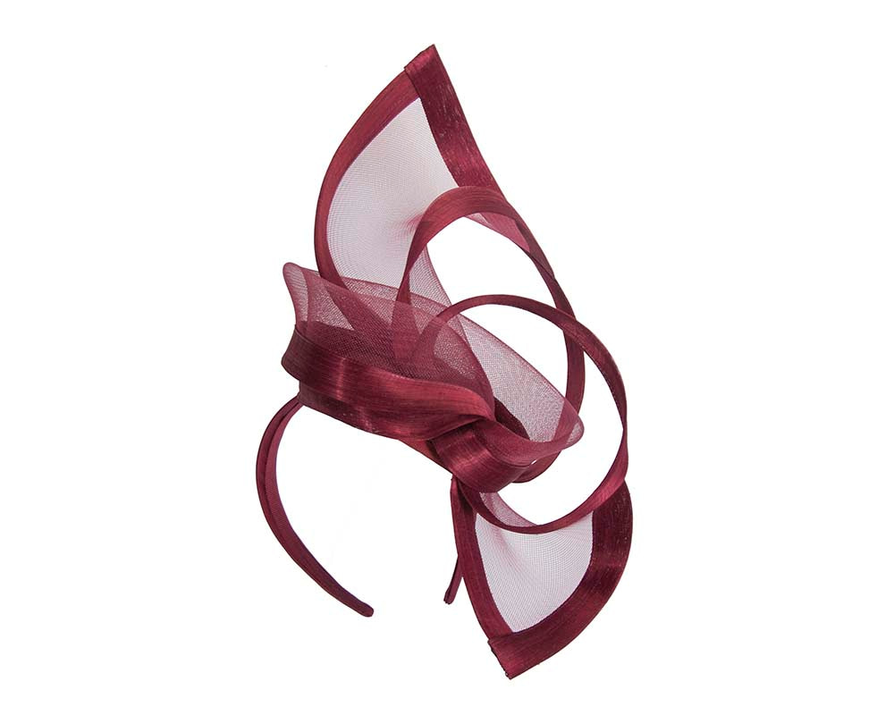 Burgundy wine edgy racing fascinator by Fillies Collection