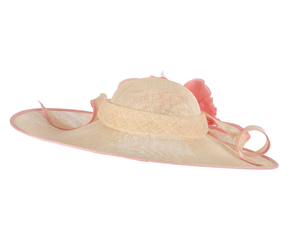 Large nude racing hat with pink flower by Cupids Millinery Melbourne