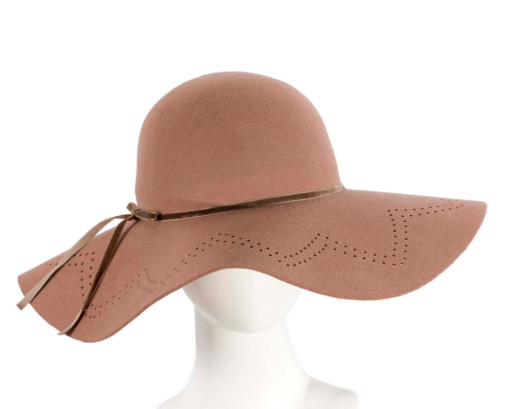 Wide brim beige winter cloche hat by Cupids Millinery Melbourne