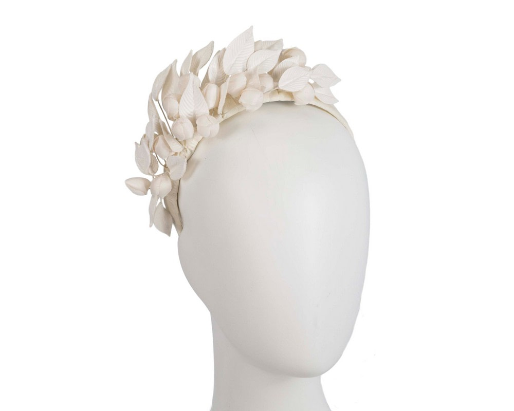 Cream sculptured leather flower headband fascinator by Max Alexander